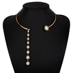 Golden Plated Collar Necklace With Artificial Pearl Pendant