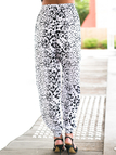 Casual Stretch Waistband Random Print Trousers for Daily