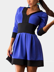 Contrast Skater Mini Dress with V Neck