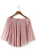 Pink See Through Pleated Off shoulder Long Sleeve Top