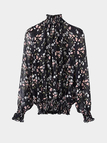 Ruffle Neck Floral Ptinting Blouse