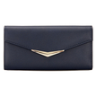 V Bar Foldover Leather-look Long Purse in Navy