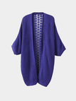 Purple Loose Knitted Cardigan with Crochet Lace Back