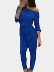 Blue Hollow Back Long Sleeves Top Suit