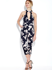 Navy Floral Print Sleeveless Choker Jumpsuit with Open Back