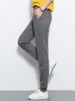 Dark Gray Simple Style Trousers