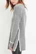 V-neck Side Split Jumper in Grey