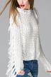 White Hollow Out Tassel Sleeve Jumper