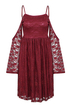 Burgundy Skater Dress in Lace with Cold Shoulder and Flared Sleeves