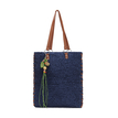 Straw-Woven Lined Beach Bag in Navy with Embellished Detailing