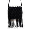 Beach Crochet  Knotted Fringed Crossbody in Black