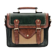 Dark Green Batchel Bag with Contrast Trims and Magnetic Closure