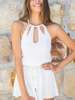 White Halter Cut Out Backless Playsuit
