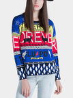 Letter Printing Knitted Jumper in Blue