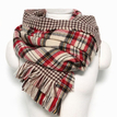 Beige Checked Print Double Sided Scarf