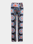 Stretch Waistband Folk Style Trousers With Tribe Print All Over