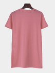 Pink Casual Split Side Round Neck Loose T-shirt