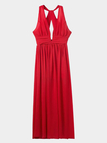 Red Plunge V-neck Halter Neck Maxi Chiffon Dress