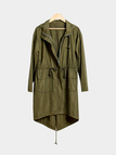 Army Green Hoodie Trench Coat with Drawstring Waist