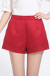 Red High Waist Shorts with Jacquard Details