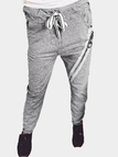 Grey Casual Drawstring Waist Zipper Design Pants with Four Pockets