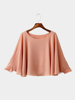 Plain Color Round Neck Long Sleeves Blouse