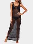 Black Beach Hollow Out Sleeveless Maxi Cover-up