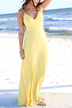 Yellow Sexy V-neck Backless Beach Maxi Dress With Cami Strap