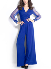 Sexy V-neck High Waist Flared Jumpsuit in Blue