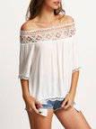 Semi Sheer Hollow Out Off Shoulder Shirt with Lace Details