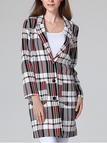 Lapel Collar Check Longline Duster Coat
