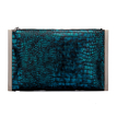 Fantastic Blue Snake Effect Clutch Bag with Silver-tone Hardware