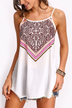 White Casual Tribe Pattern Front Cami