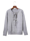 Grey Tie Front Jumper With Crossing Strap