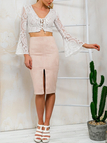 White Bell-sleeved Lace Up Crop Top