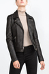 Lapel Leather-look Biker Jacket
