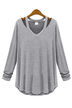 Cut Out Long Sleeves Top in Light-grey
