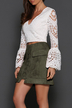 Army Green Front Lace-up A-line Mini Skirt With Back Zip