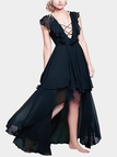 Black Swallow-tail Pattern High Waist Layered Design Maxi Dress for Holiday