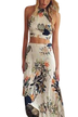 Sexy Sleeveless Crop & Maxi Dress Random Floral Pattern Co-ord