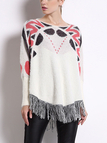 Cape knitted Jumper with Geometrical Pattern