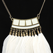 White Feather Pendant Necklace