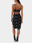 Casual Slip Side Backless Random Floral Print Pattern Cami Dress