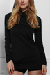 Black Hooded Hollow Out Casual Dress with Long Sleeves