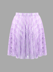 Stretch Waistband Pleated Mini skirt with Lace Details