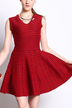 Jacquard Sleeveless V Neck Knit Dress in Red