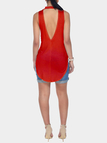 Red Halter Neck Cut Out Back Vest with Curved Hem