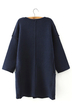 Navy Drop-shoulder Coat with Patch Pattern Detail