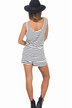 Sleeveless Stripe Pattern Playsuit with Drawstring Waist