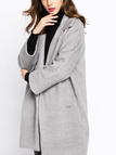 Grey Lapel Collar Duster Coat with Side Pocket